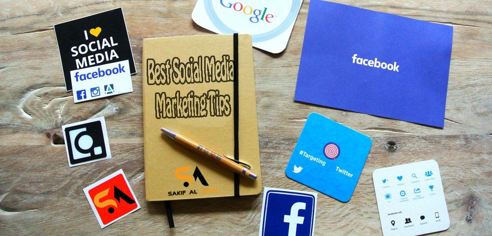 Best Social Media Marketing Tips: This pictures shows google, facebook, twitter, Instagram logo along with a notebook of marketing tips and a pen