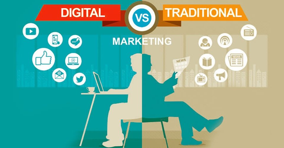 Half side of this image showing digital marketing and remaining side showing Traditional marketing