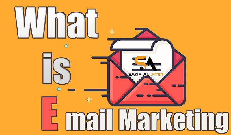 What is Email Marketing written in an orang color background beside a red color envelop