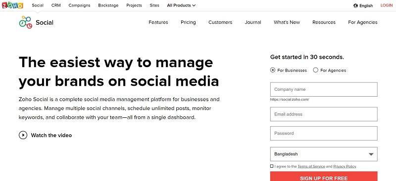 zoho social homepage